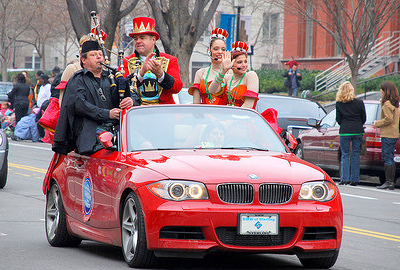 Tim Carey with Ringling Brothers performing in parade